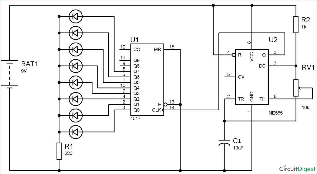 LED Roulette Circuit Diagram using 555 timer IC