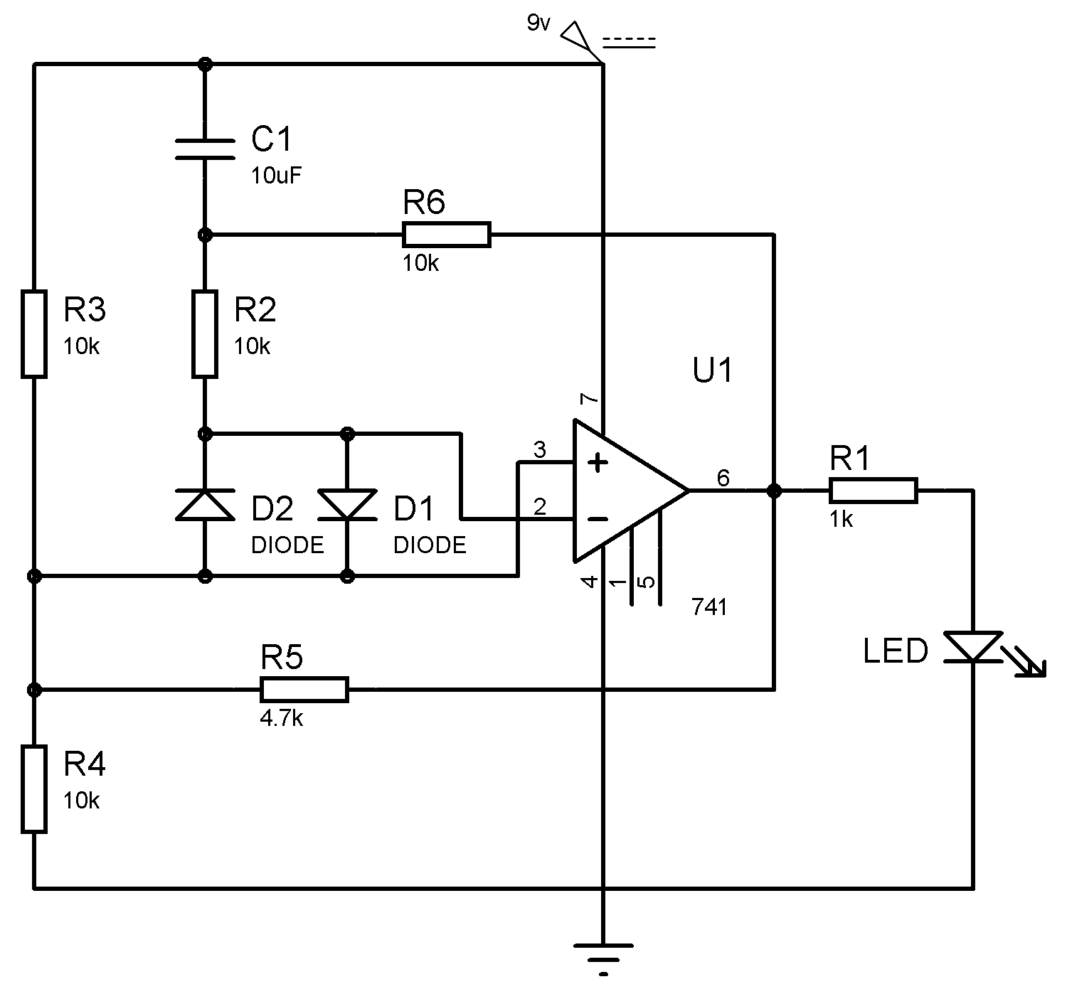 Op-amp IC LM741 Tester Circuit Diagram