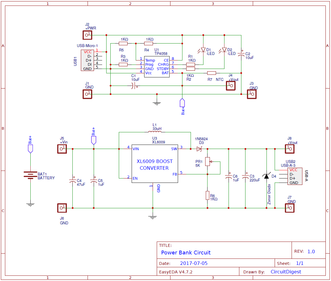 Power Bank Circuit Design On Pcb