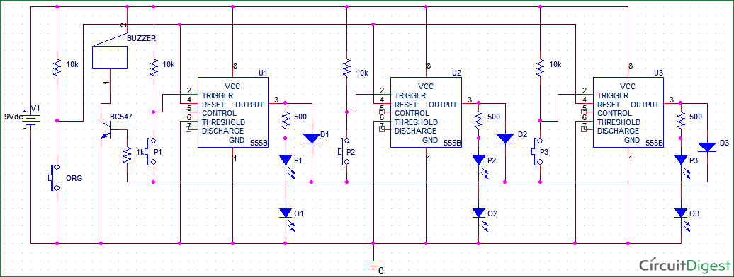 school college quiz buzzer circuit diagram using 555 timer ic rh circuitdigest com quiz buzzer schematic diagram quiz show buzzer circuit diagram