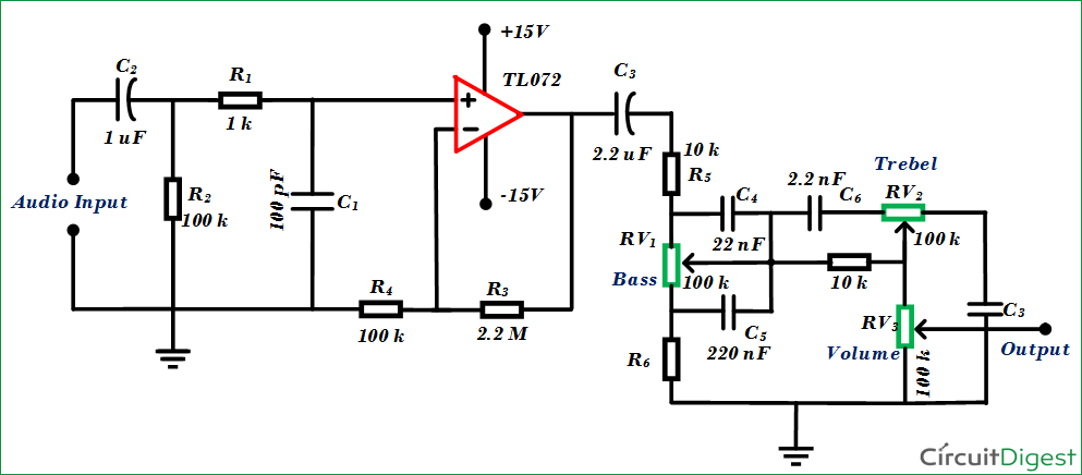 simple audio tone control circuit diagram rh circuitdigest com amplifier tone control circuit diagram tone control circuit diagram with pcb