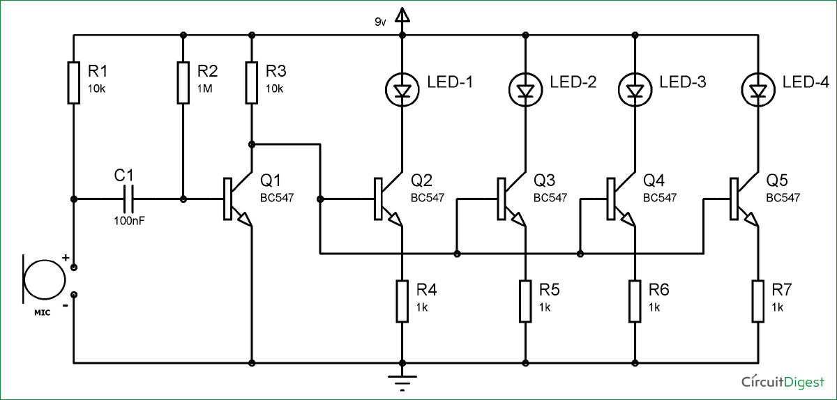 simple musical leds circuit diagram bc547 based led music light circuit diagram