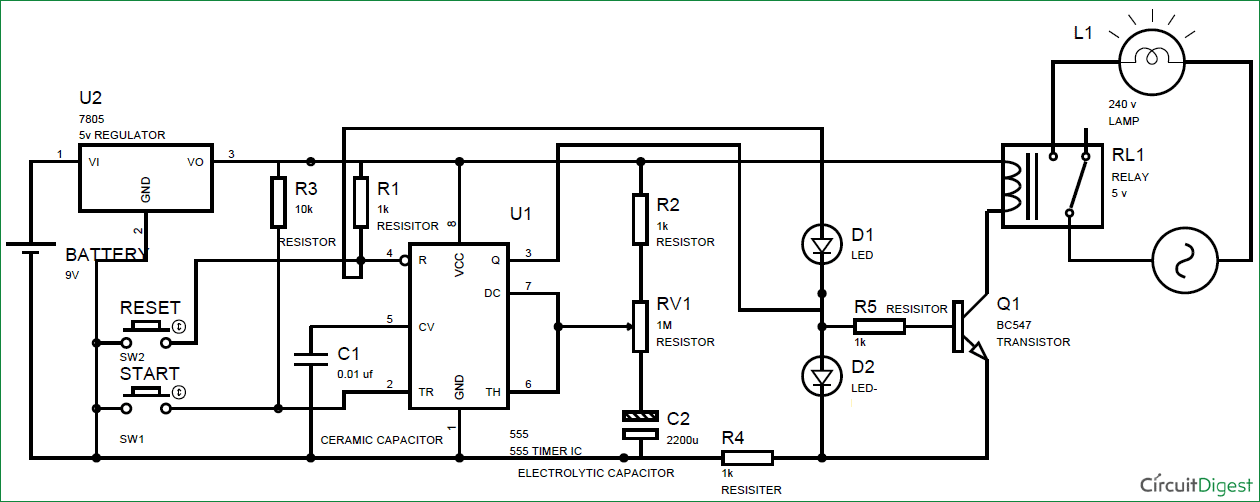 simple time delay circuit diagram using 555 timer rh circuitdigest com 12v timer delay relay circuit diagram time delay based relay operated load circuit diagram