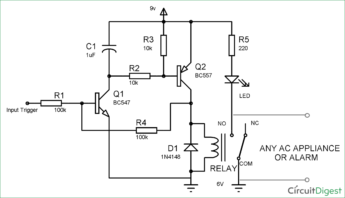 Simple Latch Circuit Diagram With Transistors Current Sensing Relay