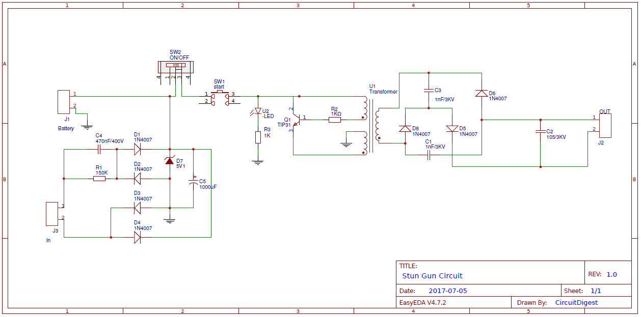 diy stun gun circuit diagram on pcb rh circuitdigest com Stun Gun Circuits Easy Stun Gun Wiring