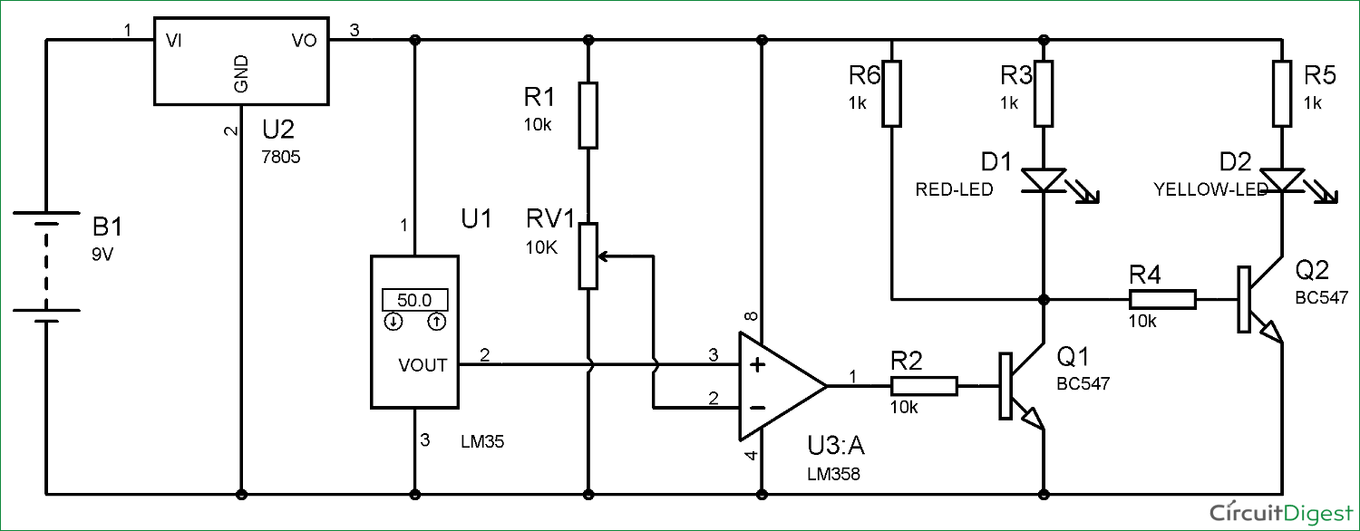 Temperature Controlled Leds Using Lm35 Variablerangeledvoltmeterprojectcircuit Circuit Diagram