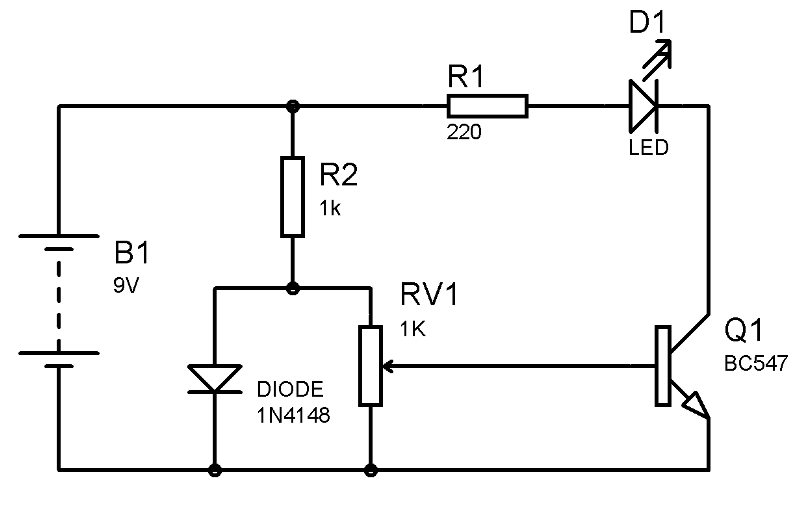 temperature detector using transistor circuit diagram