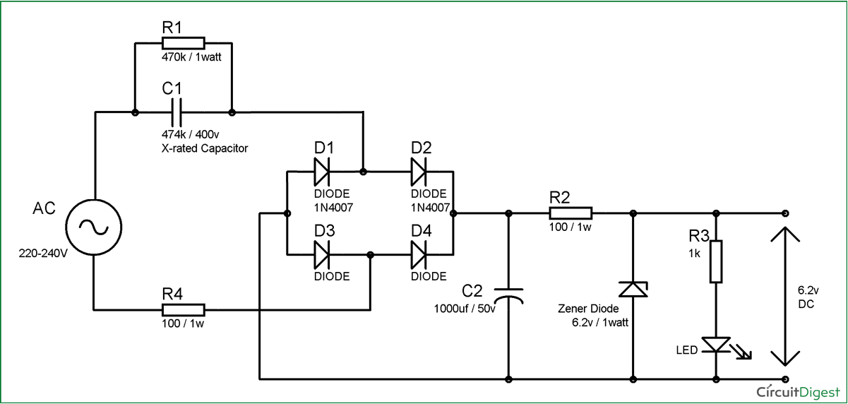 transformerless power supply circuit diagram rh circuitdigest com 24vdc power supply wiring diagram Step Down Transformer Wiring Diagram