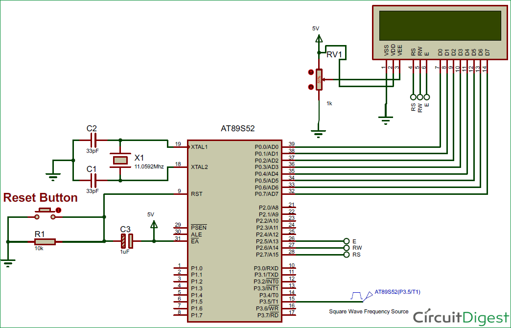 8051 Microcontroller based Frequency Counter Circuit diagram
