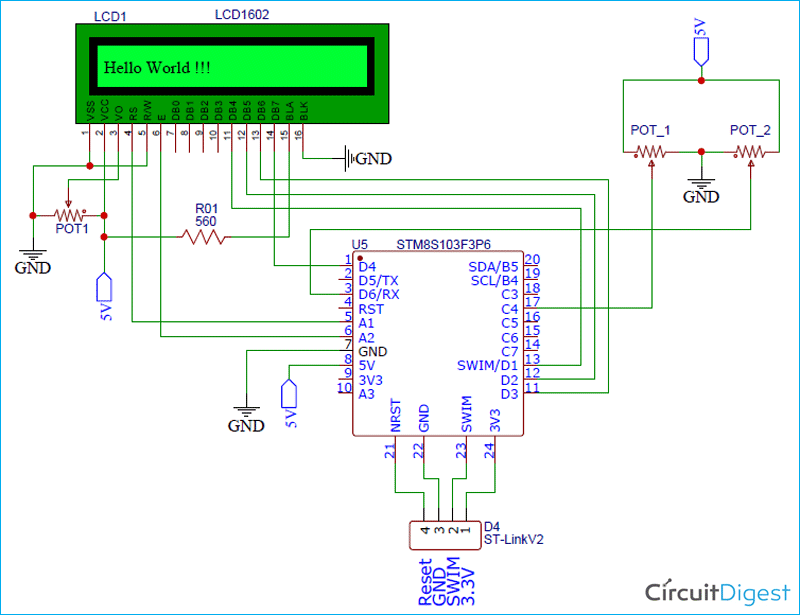 ADC on STM8S Microcontroller Circuit