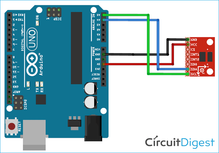 How to Interface ADXL345 Accelerometer with Arduino UNO Accelerometer Circuit Diagram on vibration diagram, hydrometer diagram, gprs diagram, speaker diagram, switch diagram,