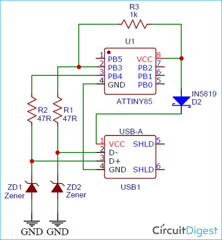 ATtiny Programmer Circuit Diagram