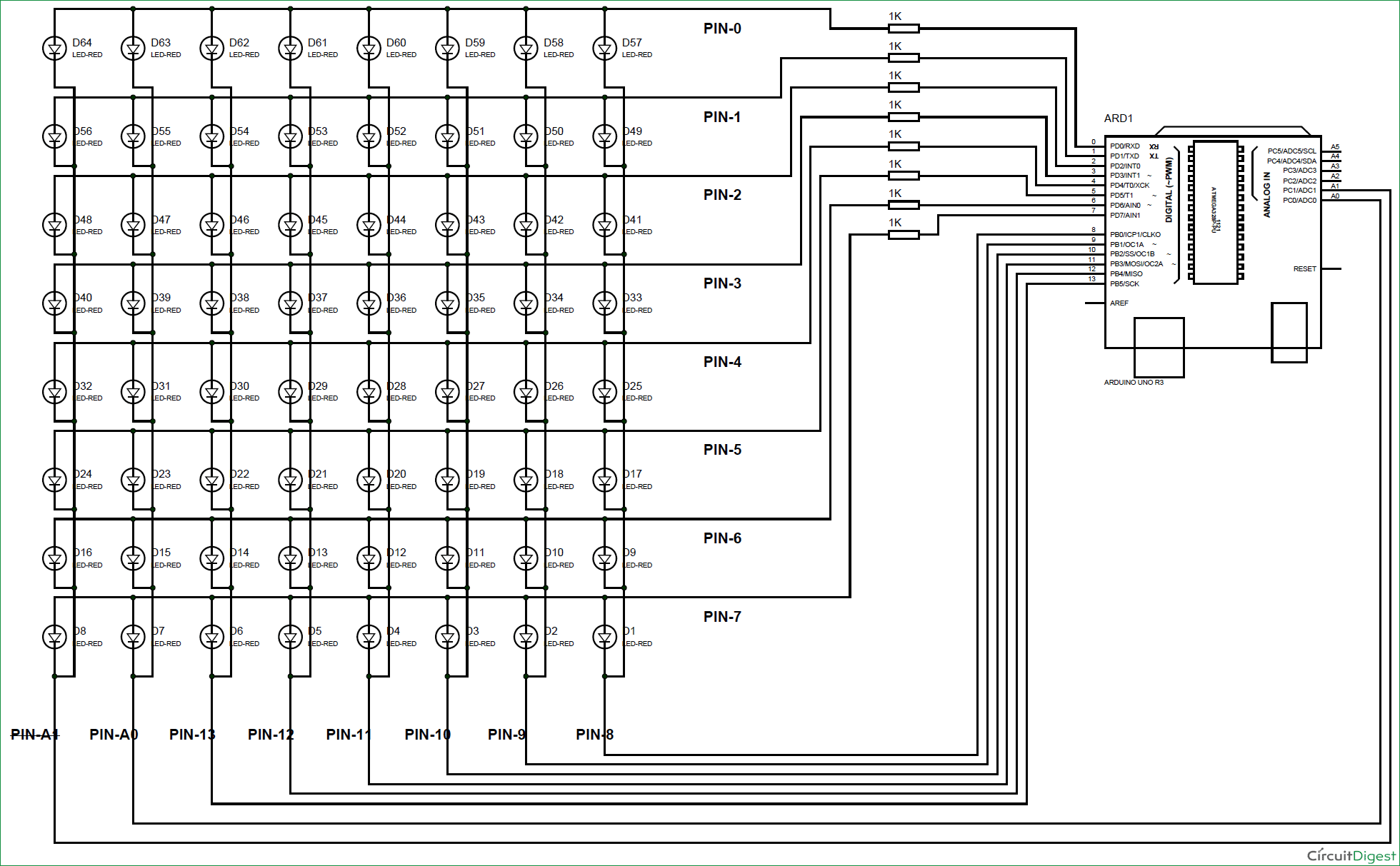 Scrolling Text Display On 8x8 Led Matrix Using Arduino In A Parallel Circuit Diagram