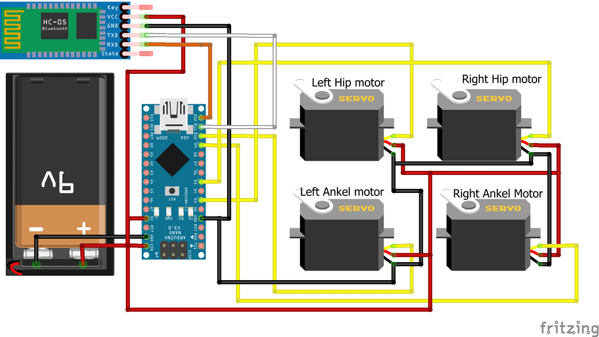 Arduino Bluetooth Biped Bob (BBB) Robot Circuit Diagram