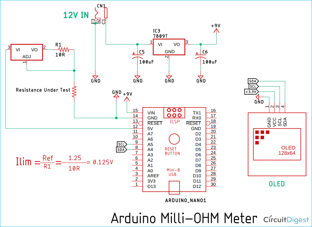 Arduino Based Low Resistance Meter Circuit Diagram