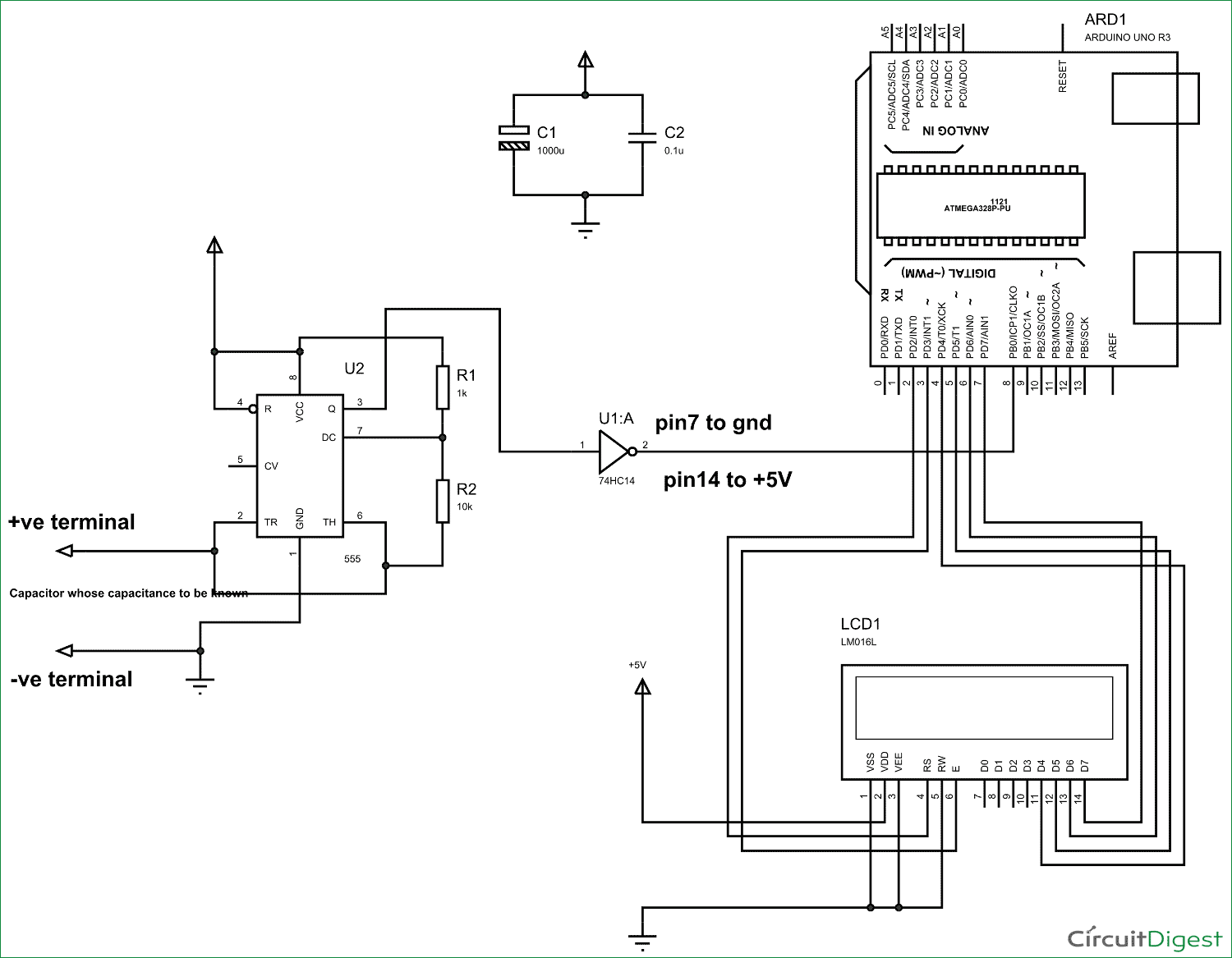 Arduino Capacitance Meter Circuit Diagram and Code