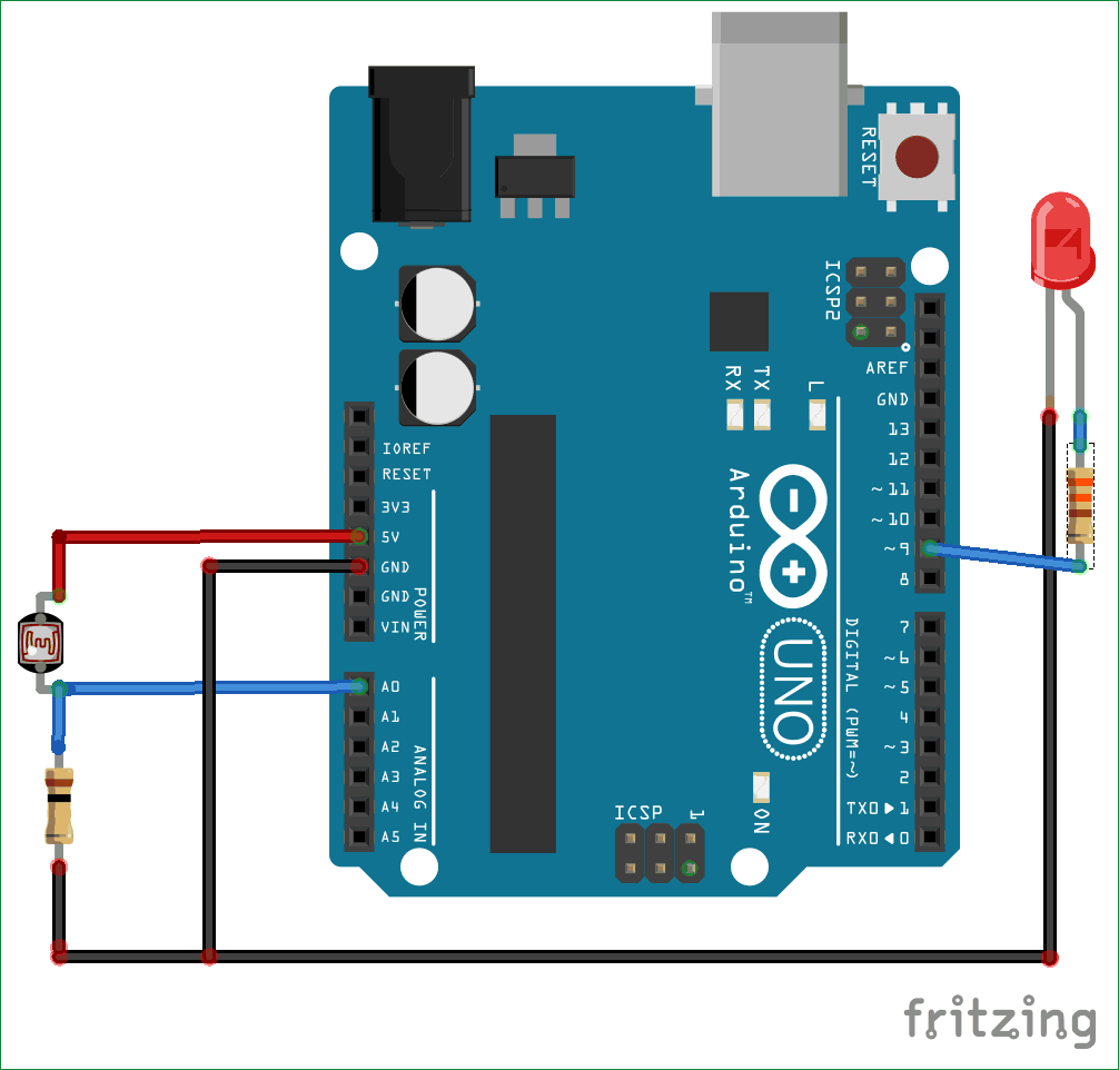 Arduino Light Sensor Circuit Using Ldr Led Fixture Wiring Diagram
