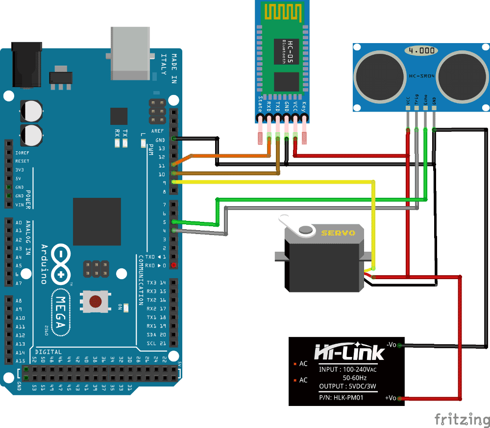 Arduino Radar System Using Processing Android App And Ultrasonic Sensor Cable Schematic Circuit