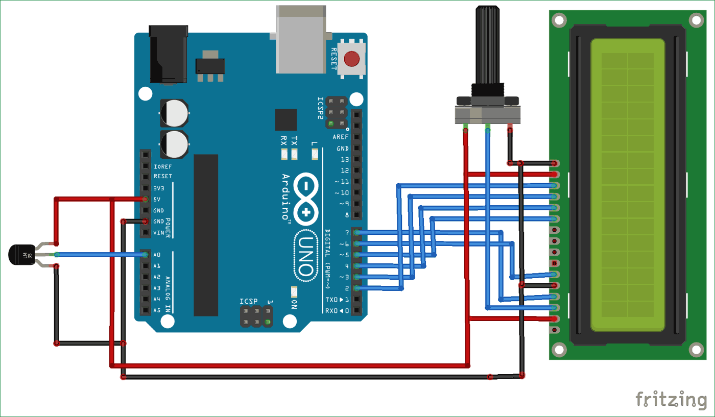 Arduino Based Digital Thermometer Circuit Diagram