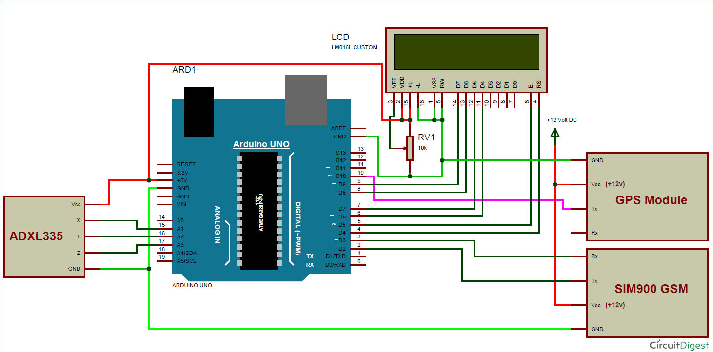 Arduino Based Vehicle Accident Alert System Project Using Gps Gsm Electronic Shock Sensor Free Circuits 8085 Projects Circuit Diagram