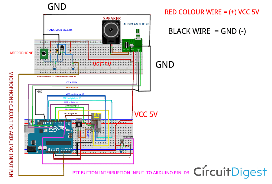 Arduino Walkie Talkie using nRF24L01 Circuit Diagram