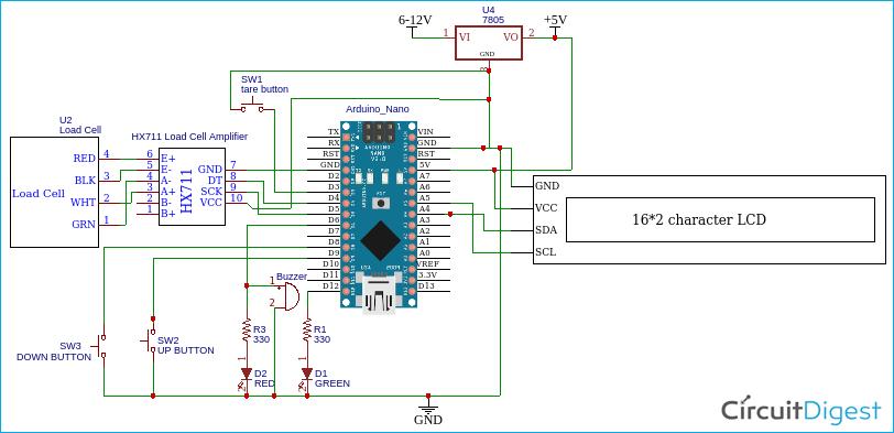Arduino Weighing Machine Circuit Diagram