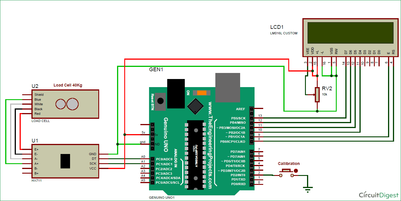 Arduino Weight Measurement Using Load Cell on amplifier schematics