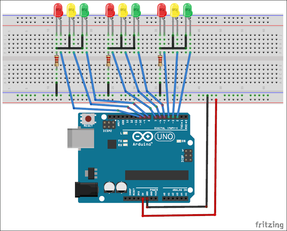 Traffic Signal Controller Circuit Diagram: Arduino Traffic Light Controller Project with Circuit Diagram and Coderh:circuitdigest.com,Design
