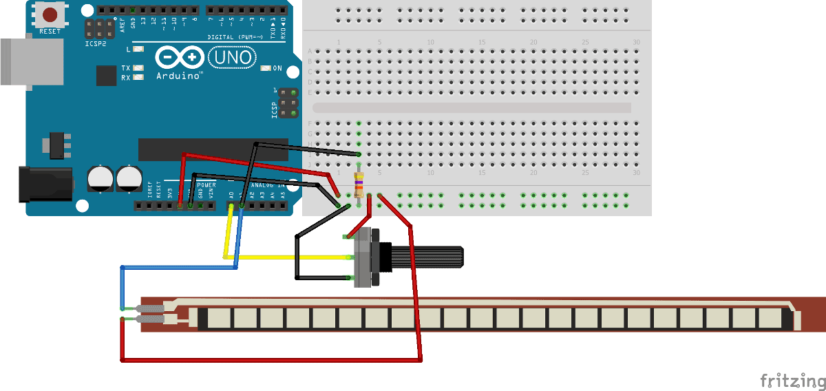 Arduino based Angry bird game controller using flex sensor circuit diagram