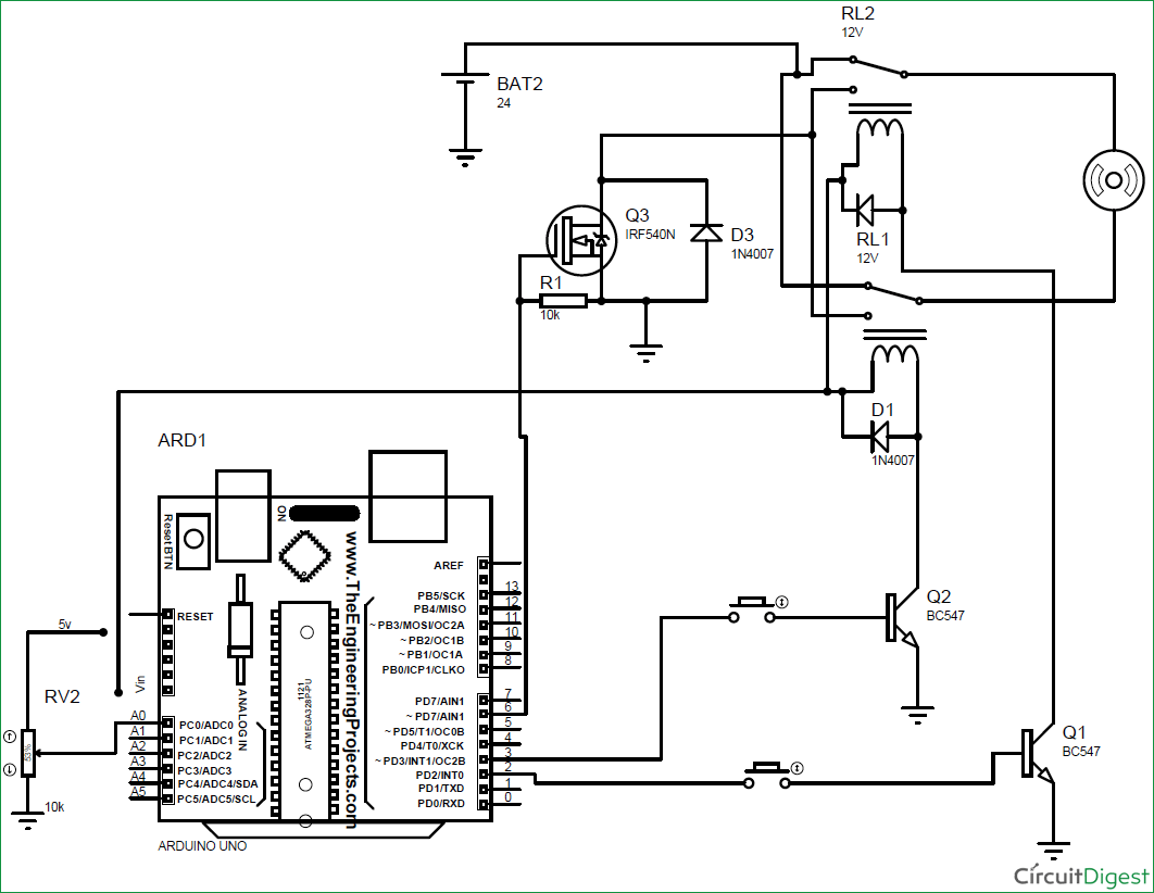 Arduino Dc Motor Speed And Direction Control Using Relays Mosfet Model Locomotive Infrared Controller Circuit Electronic Based Diagram