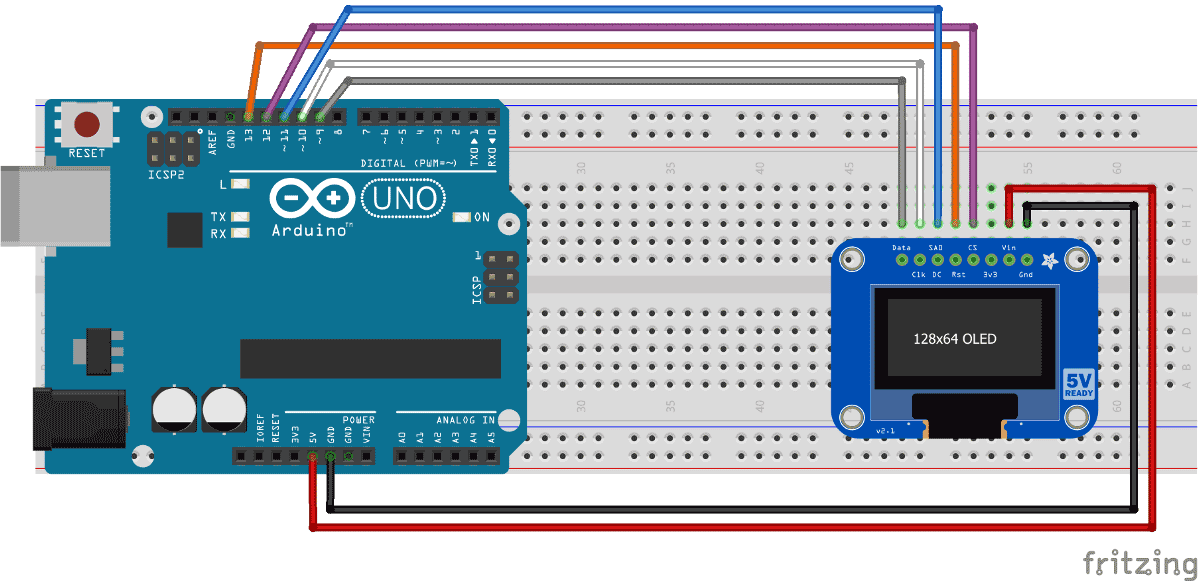 Arduino interfacing with Monochrome OLED display circuit