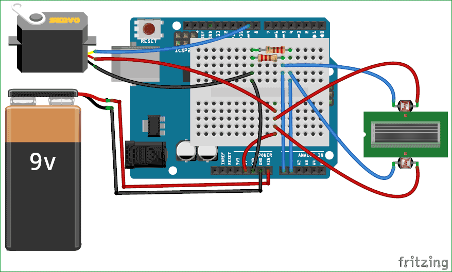 Arduino solar panel tracker using LDR circuit diagram simple arduino solar panel tracker using ldr and servo motor Solar Tracking System at arjmand.co