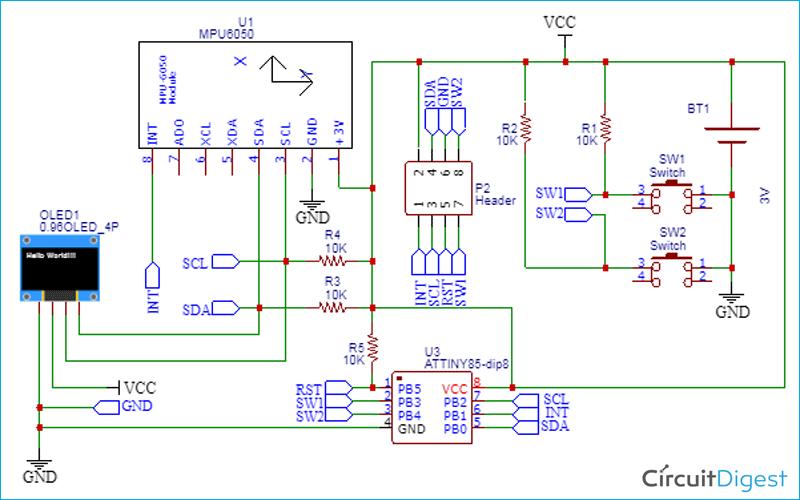 Attiny85 Step Counter Circuit Diagram