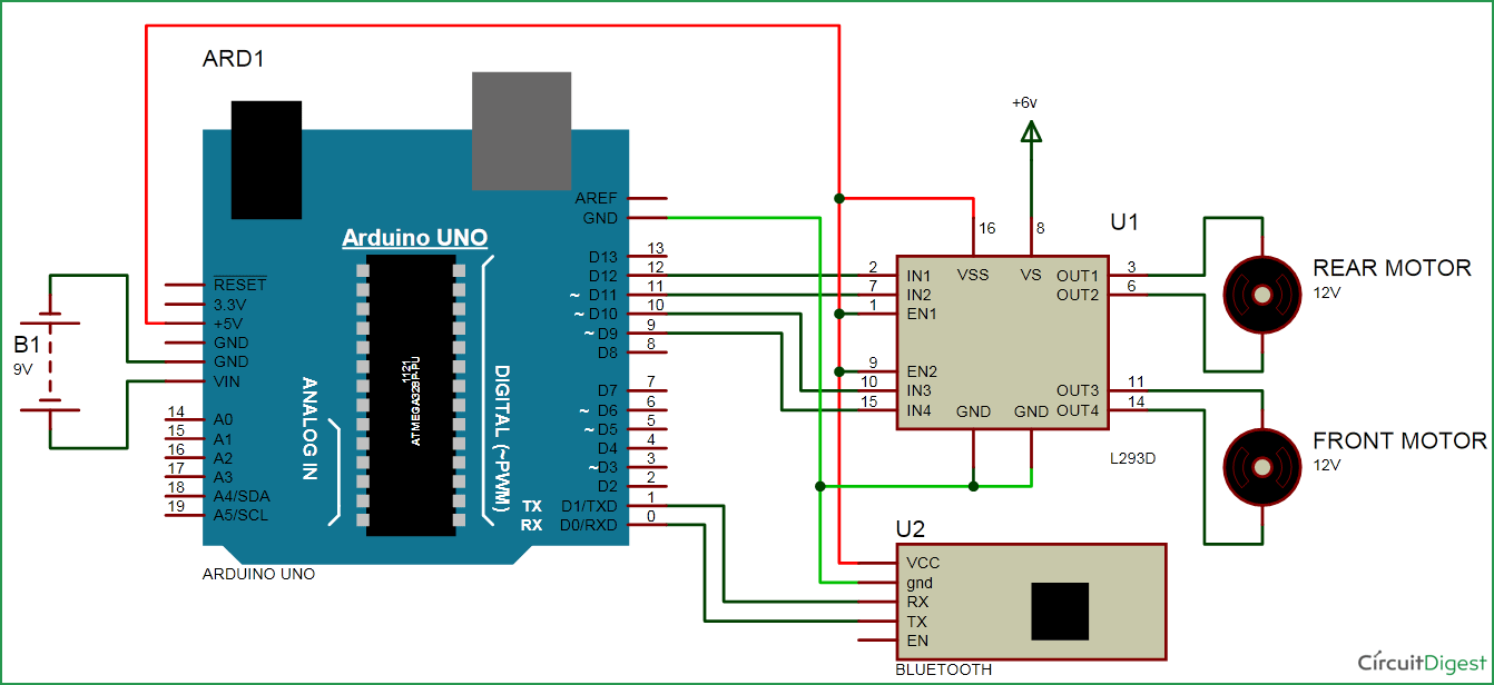 Bluetooth Controlled Car Circuit Diagram