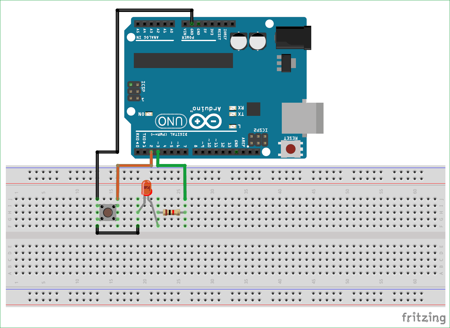 Button controlled LED Circuit diagram using Arduino