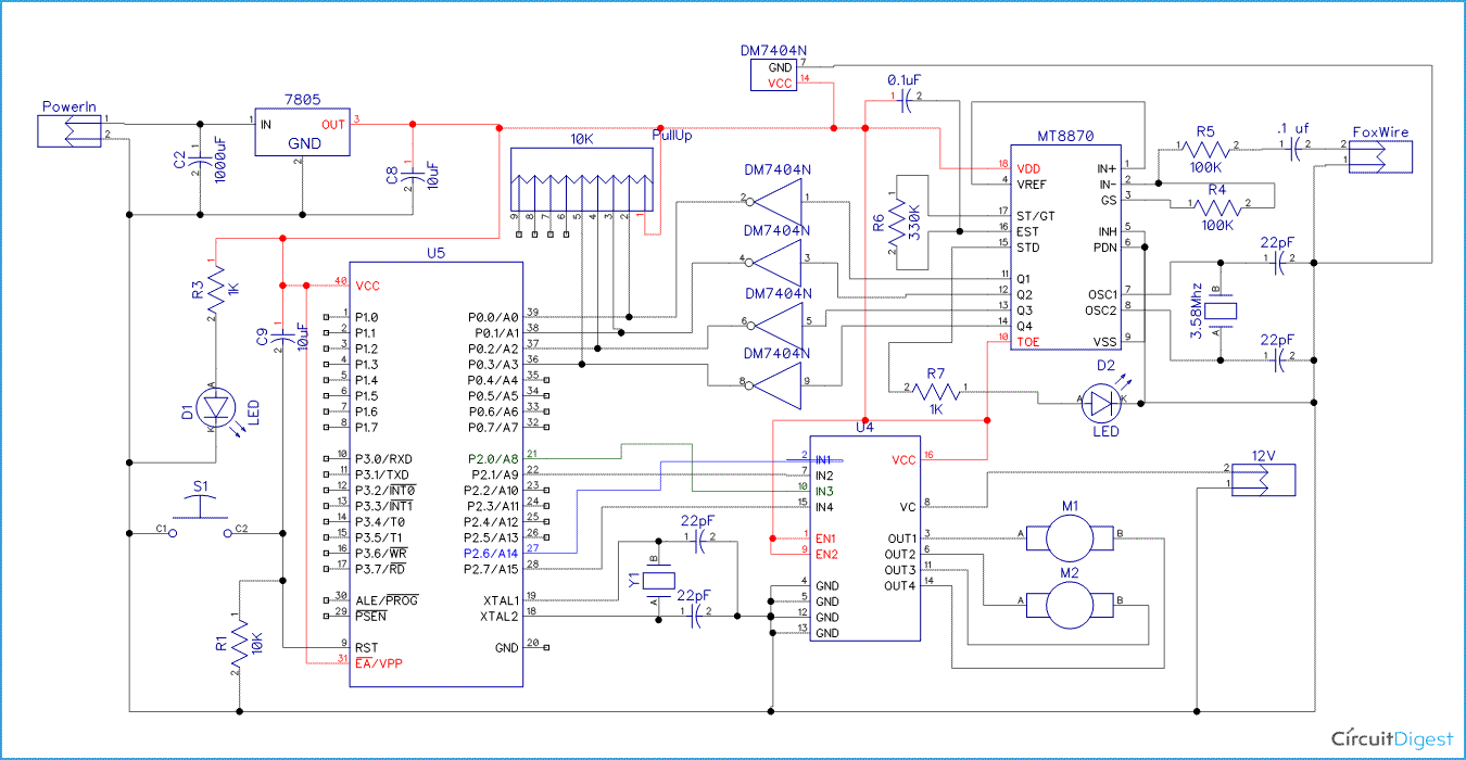 Cell Phone Controlled Robot Circuit Diagram