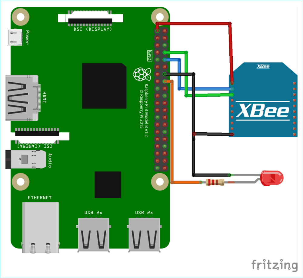 Raspberry Pi Xbee Interfacing Circuit Diagram