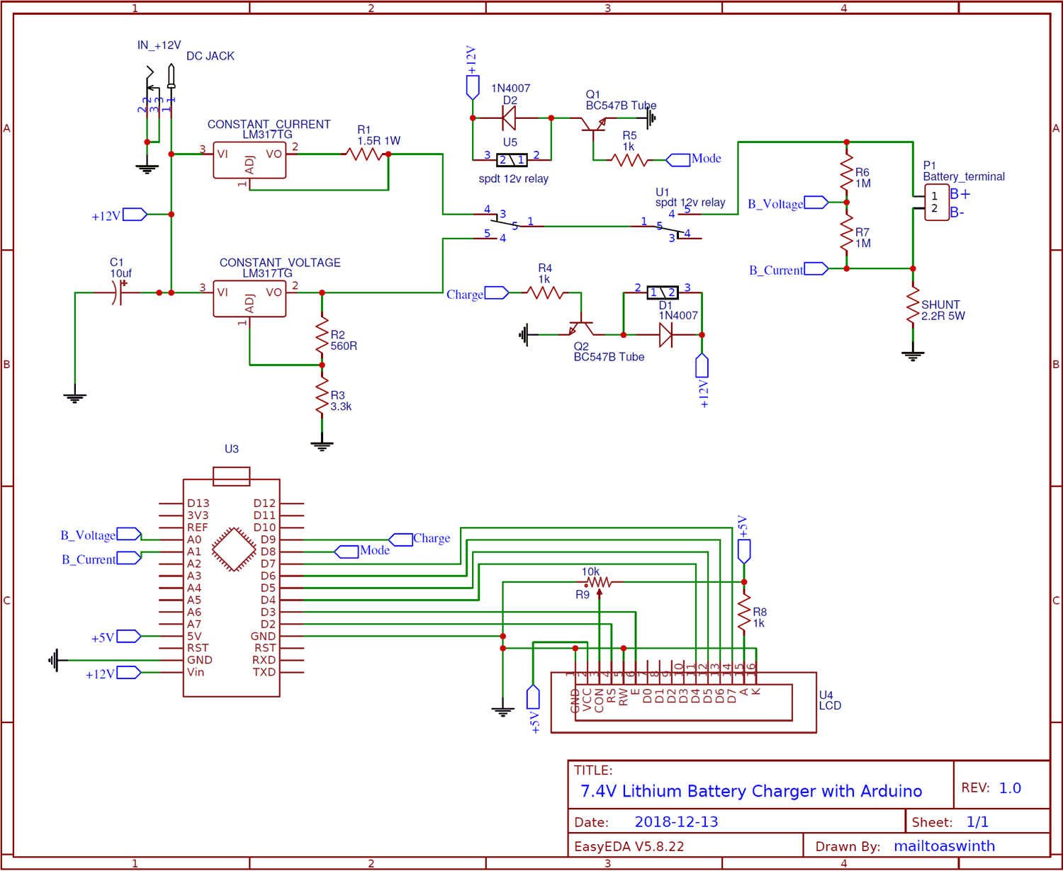 Circuit Diagram for 7.4V Two Step Lithium Battery Charger Circuit