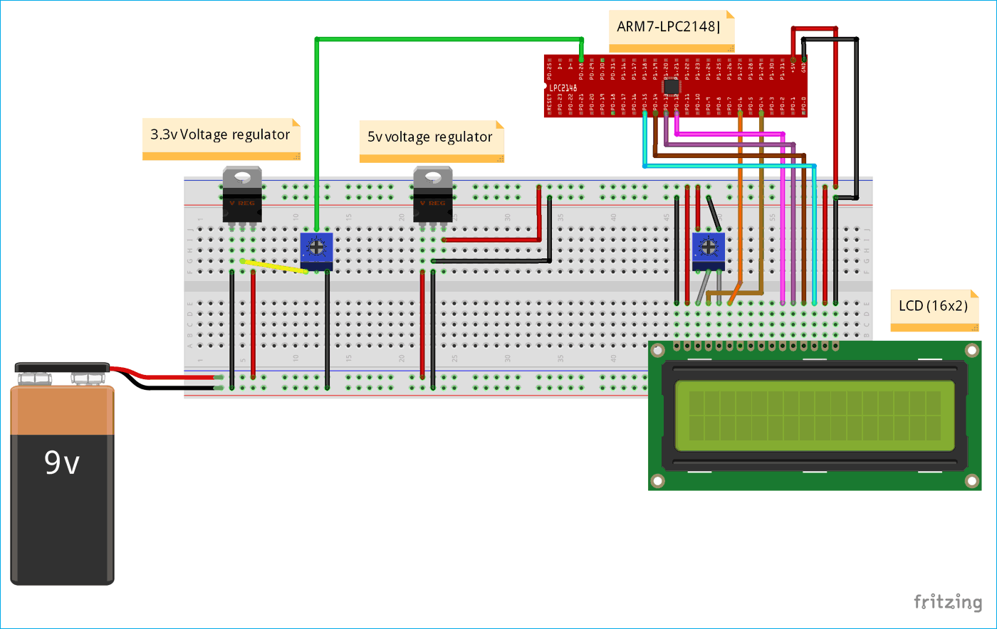 Circuit Diagram for ADC between LCD and ARM-LPC2148