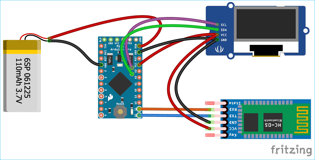 Circuit Diagram for Interfacing OLED display with Android Phone to build a Smart Watch