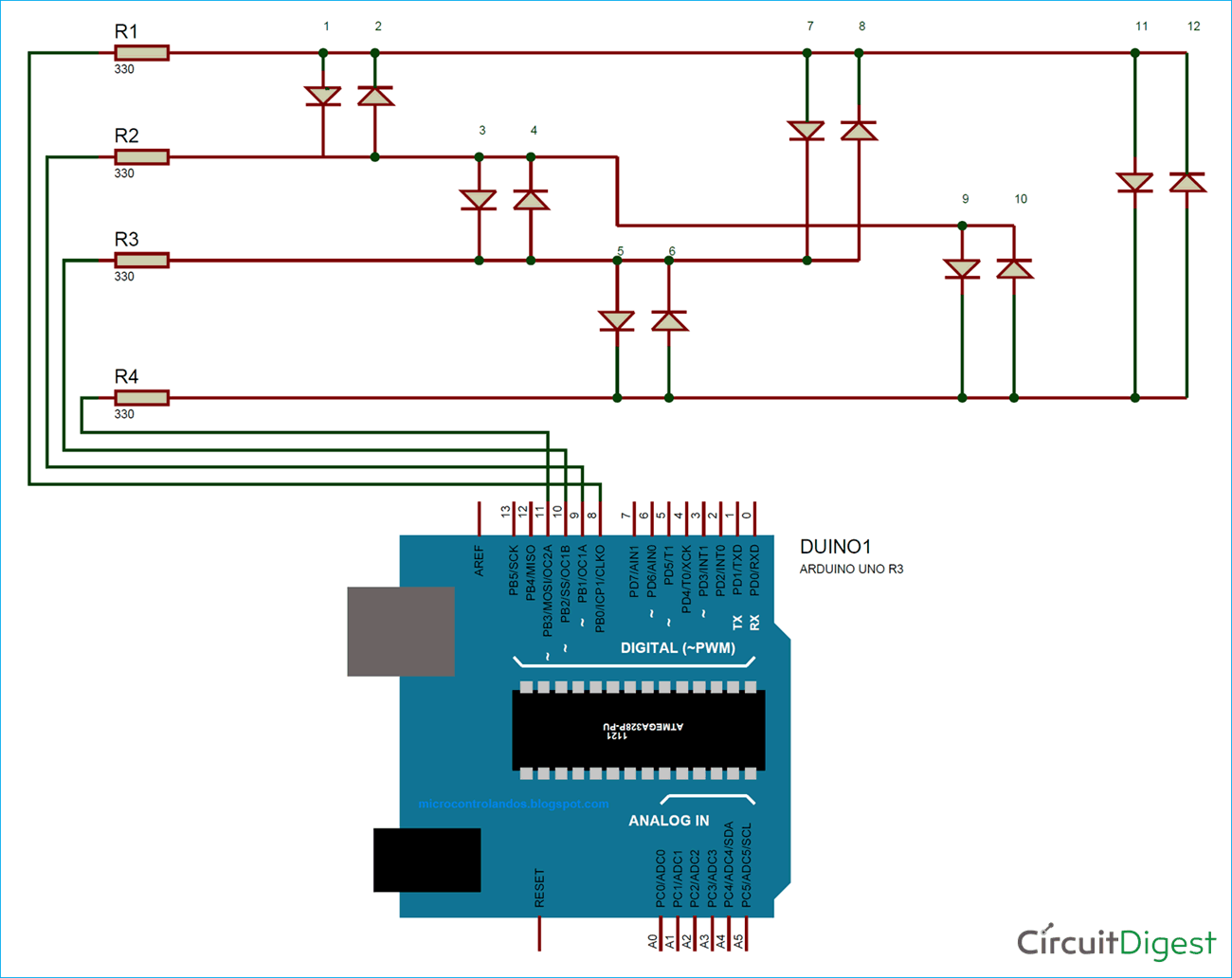 Circuit Diagram for Charlieplexing Arduino