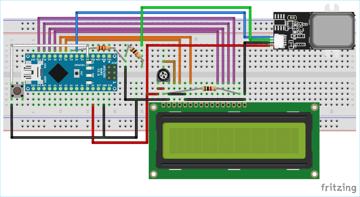 Circuit Diagram for Connecting GT511C3 Finger Print Sensor with Arduino