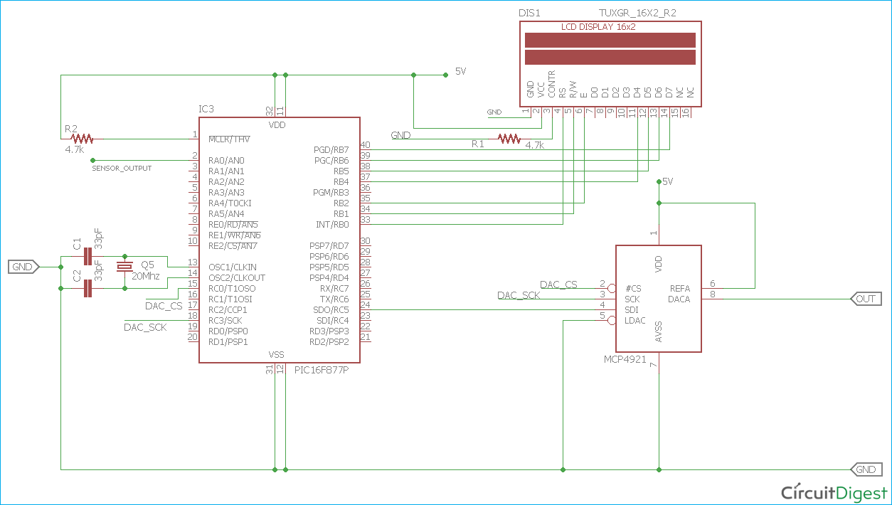 DAC MCP4921 Interfacing with PIC Microcontroller PIC16F877A on