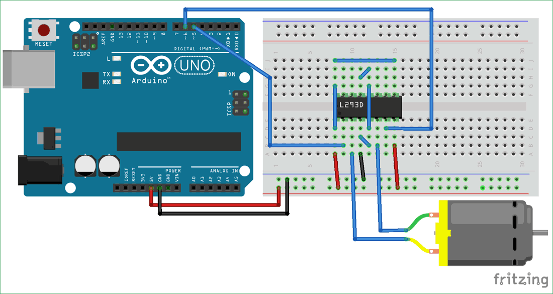 Circuit Diagram for DC Motor Control Using MATLAB and Arduino