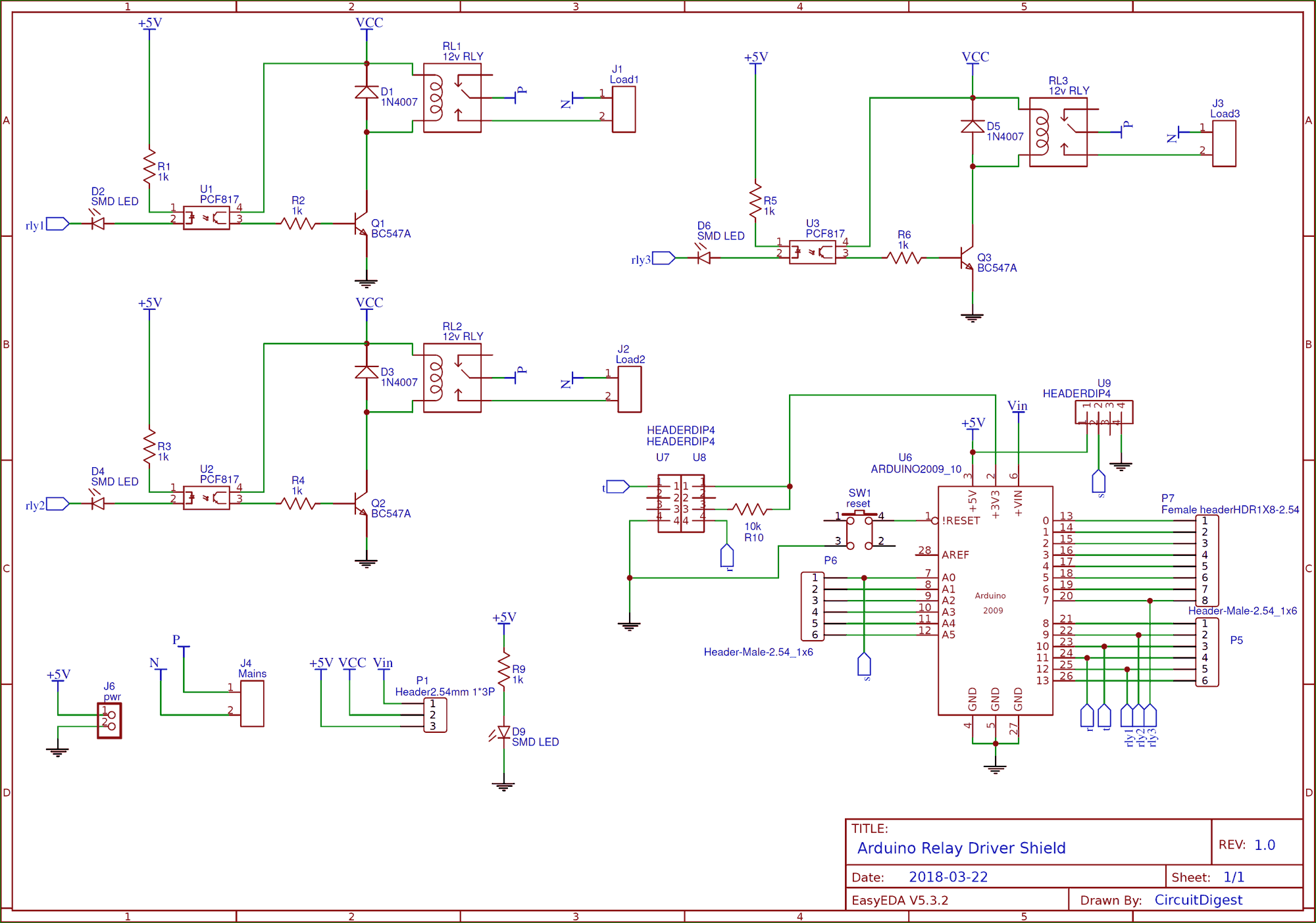 Circuit Diagram for DIY Arduino Relay Driver Shield PCB