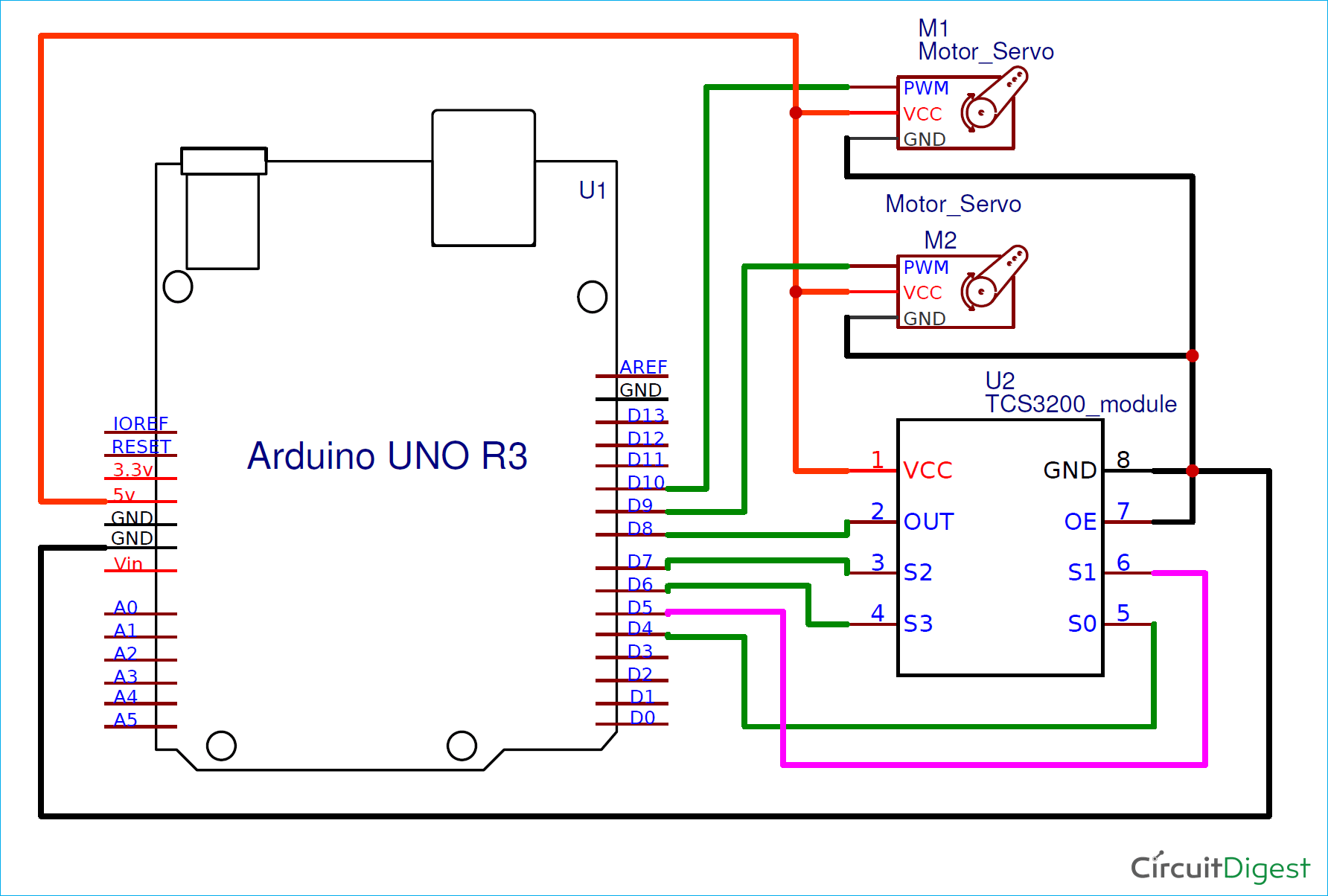 Arduino Color Sorter Machine Circuit Diagram