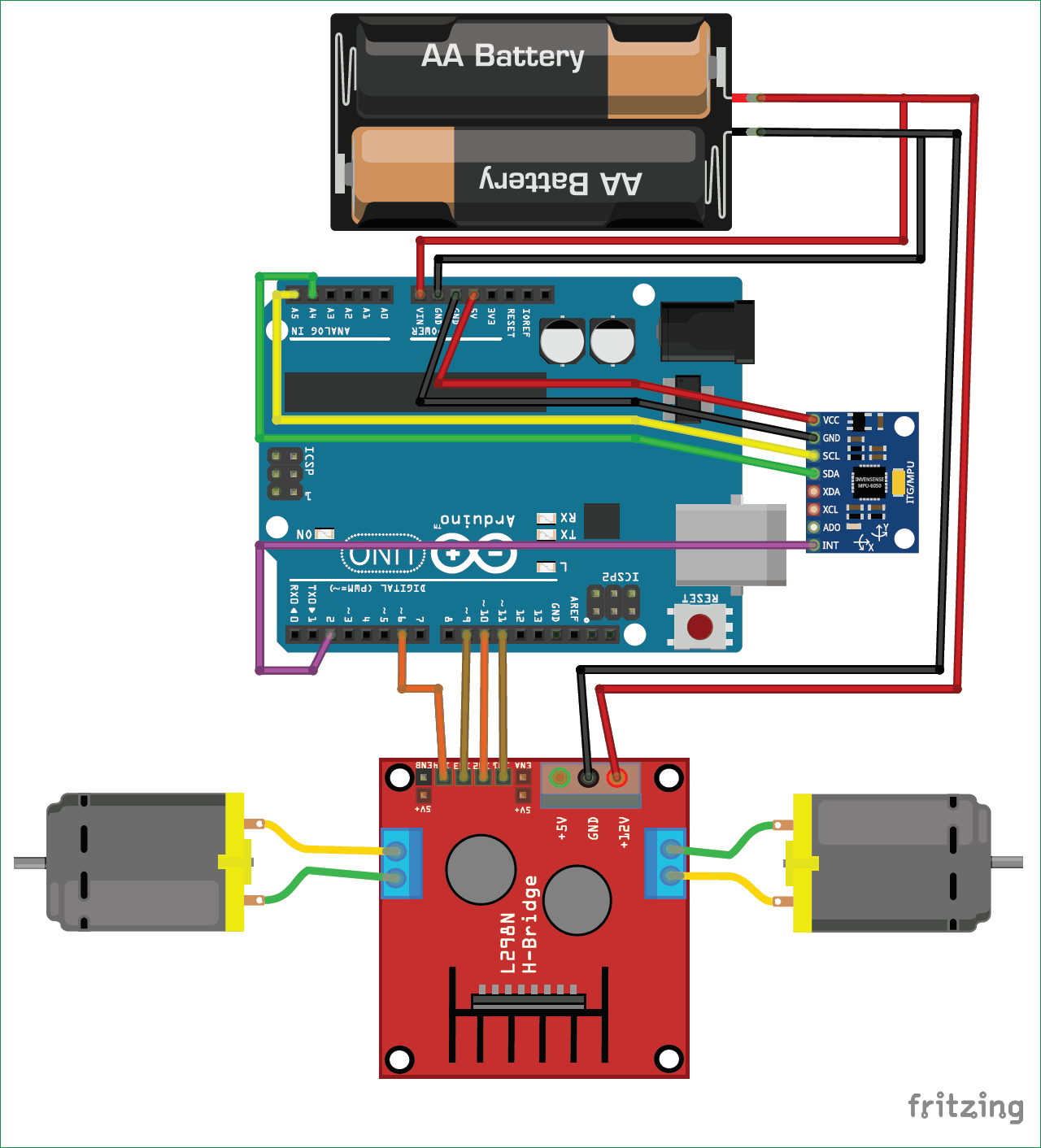 Circuit-Diagram-for-DIY Self Balancing Robot using Arduino