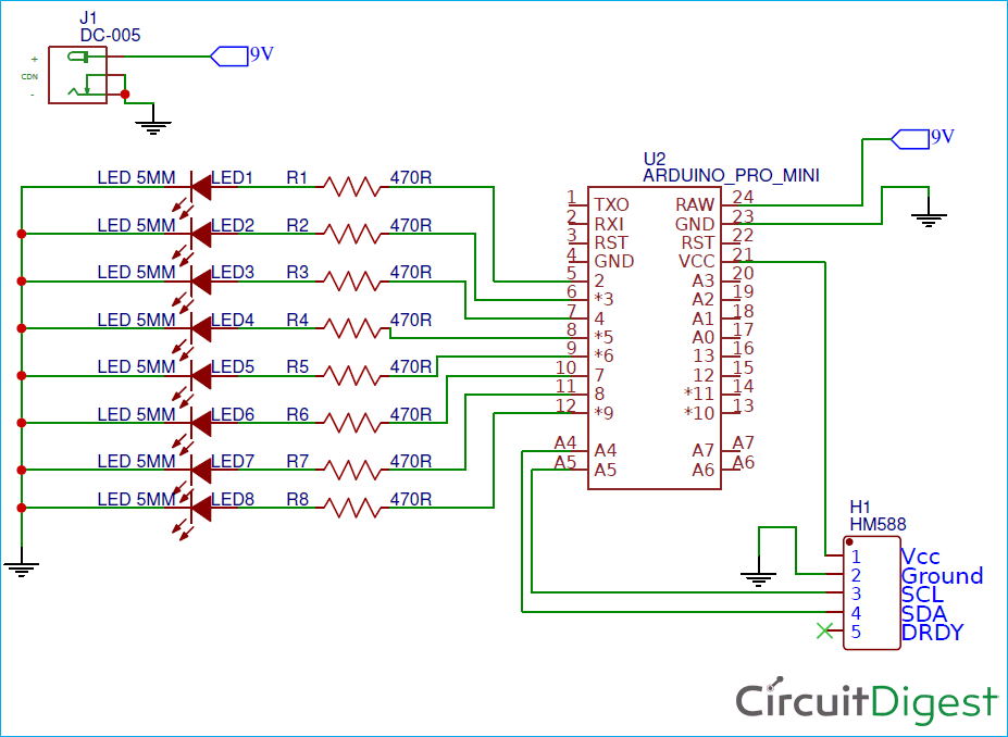 Circuit Diagram for Digital Compass using Arduino and HMC5883L Magnetometer
