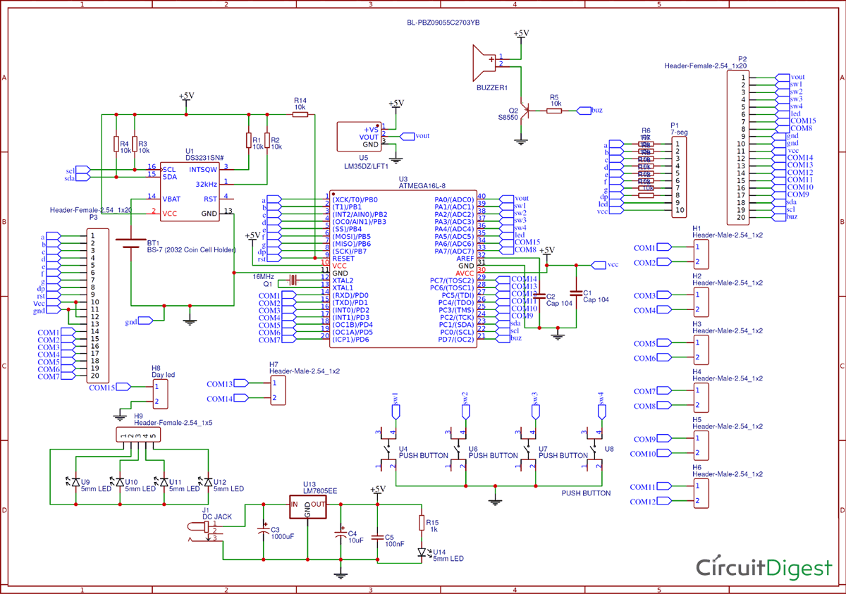 Circuit Diagram for Digital Wall Clock using AVR Microcontroller Atmega16 and DS3231 RTC