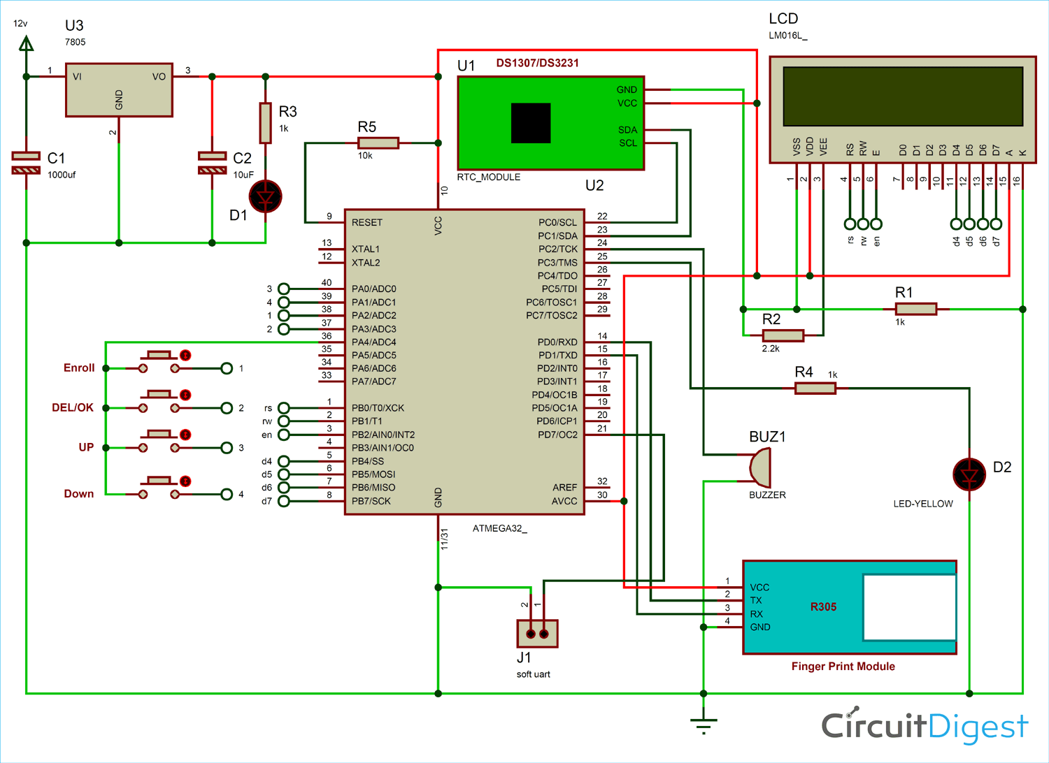 Circuit Diagram for Fingerprint Based Biometric Attendance System using AVR